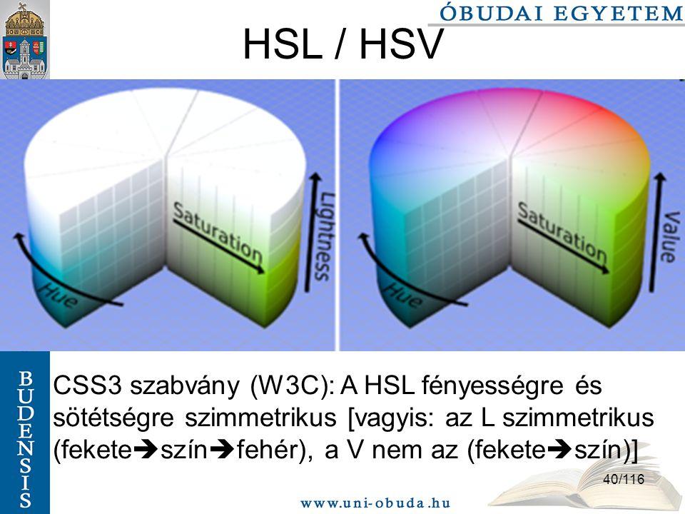 HSL / HSV CSS3 szabvány (W3C): A HSL fényességre és sötétségre szimmetrikus [vagyis: az L szimmetrikus (feketeszínfehér), a V nem az (feketeszín)]